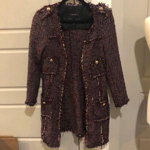 Zara Tweed Long Blazer Jacket Coat S
